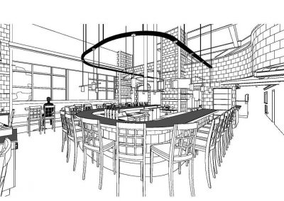 Restaurant lounge bar black and white sketch