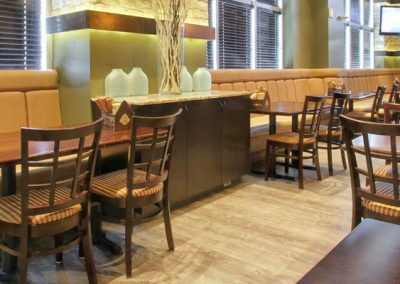 Restaurant design with booths and tables