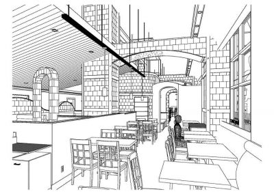 Sketch of restaurant seating design