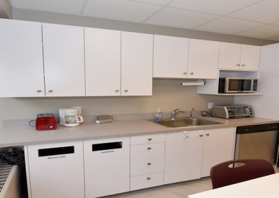 Staff kitchen and communal seating area