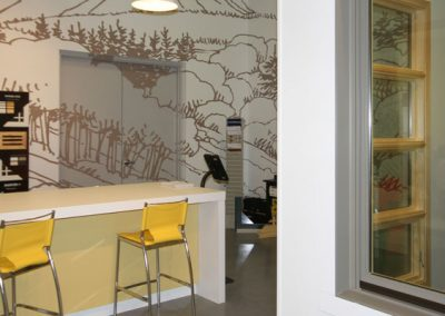Window gallery show room with wall murals