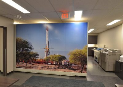 Corporate office mural separating printing area