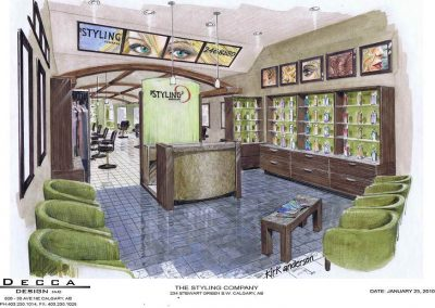Sketch of hair salon front entrance