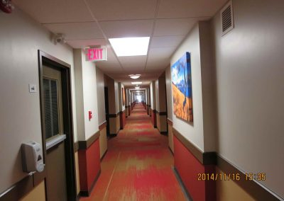 Red and yellow hallway carpet designs