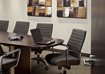 Commercial Office 5 Boardroom with Wooden Table and Custom Pictures
