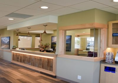 Coffee bar next to reception area at dental clinic