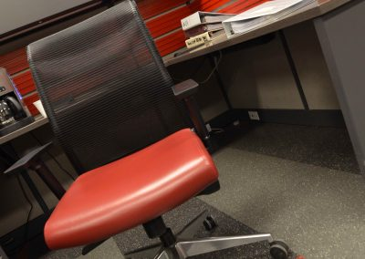 Custom red styled office cubicles and office chair