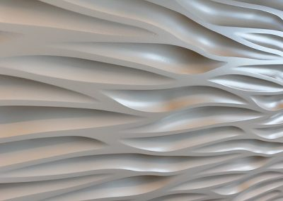 Custom flowing detail on reception desk