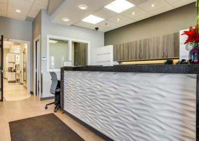 Custom interior design on reception desk and dental clinic