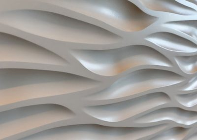 Sculpted panel details on reception desk