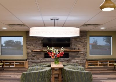 Commercial Waiting Room 18 Fitzner Stone Fireplace and Feature Light