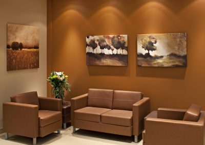 Brown interior styling in waiting room