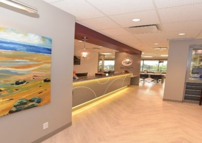 Entrance into eye clinic waiting room and reception area