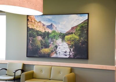 Waiting room wall art with nature landscape