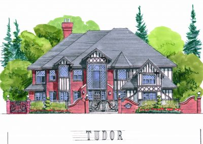 Tudor architectural sketch of residential community planning large estate home