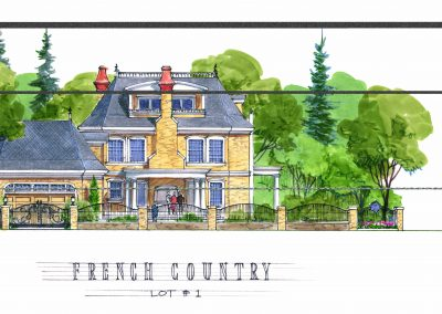 Sketch of French Country home