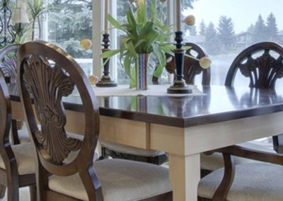 Brown and white wooden dining room table