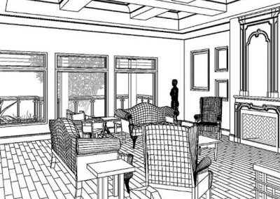 Black and white design of living room using revit technology