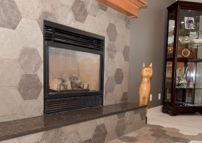 Hexagon tiles on fireplace