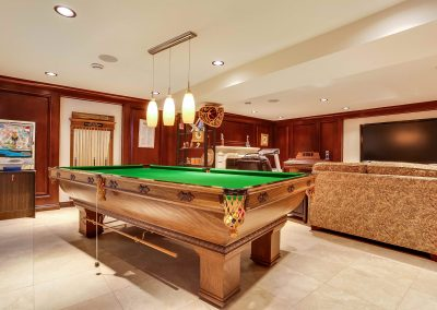 Billiards pool table in basement