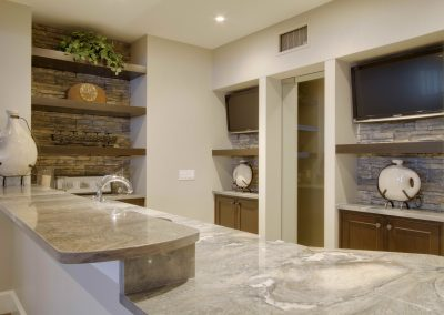 Basement bar with quartz countertops