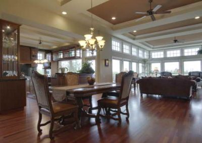Open concept dining room traditionally decorated