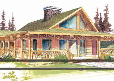 water colour sketch of cabin inspired bungalow surrounded by forested area