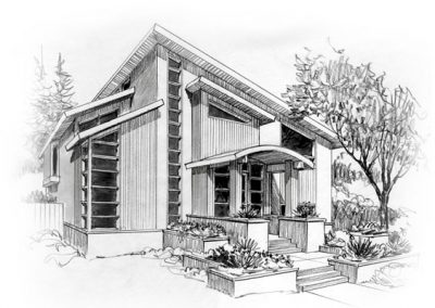 Black and white sketch of front entrance of house with pitched roof