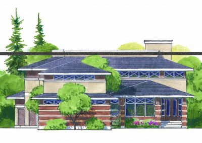 Residential exterior sketch of custom home design