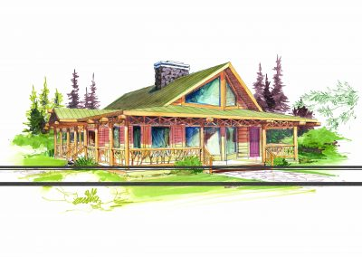 Sketch of A-frame cabin inspired home