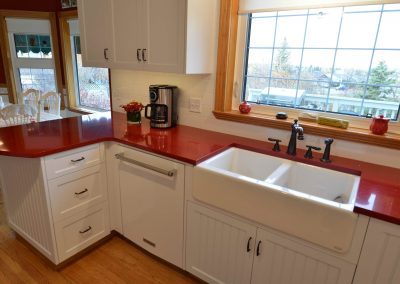 Residential Kitchen 12 Farmhouse Red Countertops and Farm Style Sink