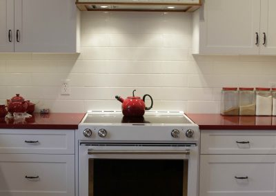 Residential Kitchen 53 Farmhouse Country with White Cabinets and Red Counters
