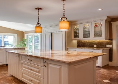 Residential Kitchen 61 Large Island with White Cabinets