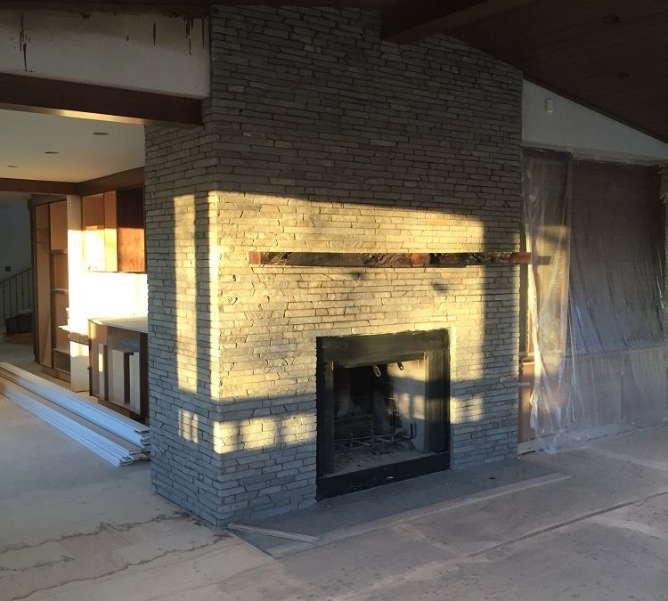 Fireplace stone is in place